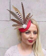 Red Brown Pheasant Statement Feather Fascinator Pillbox Races Hat Wedding 3170