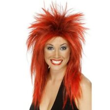 Para mujer largo Rojo Peluca Mullet Estrella De Rock Música Diva Tina Turner Fancy Dress Gallina Do
