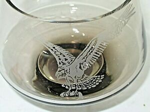 Art Glass Caithness Footed Bowl Vase Etched Osprey Sea Eagle Bird & Fish Signed