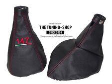 "For Alfa Romeo 147 05-10 Gear & Handbrake Gaiter Leather ""147 ITALY"" Embroidery"