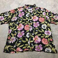 POLO RALPH LAUREN CLAYTON 90s VTG Rayon Loop Collar Hawaiian Black XL Shirt Pink