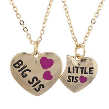 Lux Accessories GoldTone Big Sis Lil Heart VDay Charm Pendant Necklace Set 2PC