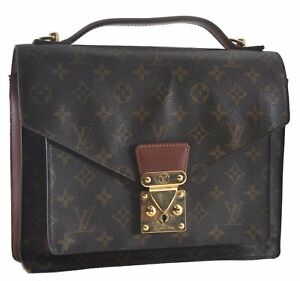 Authentic Louis Vuitton Monogram Monceau Hand Bag Briefcase M51185 LV C1572