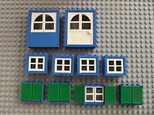 Lego Blue & White Windows With Green Shutters & Doors House Build Project 11