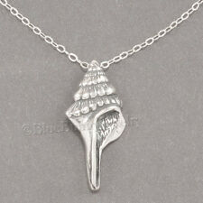 "CONCH SEA SHELL Ocean Nautical Charm Pendant  925 STERLING SILVER 18"" Necklace"