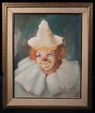 Mid Century Oil Painting of Clown, Illegibly Signed, Possibly French, NICE!