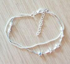 Silver Look Double Anklet Bracelet Star & Balls