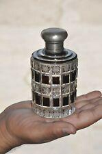 Vintage Unique Art Deco Checks & Star Design Heavy Cut Glass Perfume Bottle