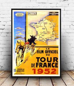Tour de France 1952, vintage movie , Poster, Wall art, Reproduction.