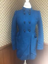 ZARA Rich Royal Blue Puff Shoulders Jacket Coat Unique Size Large Синея Пальто