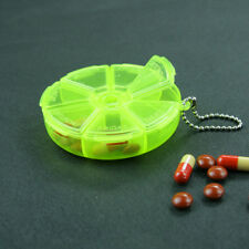 Portable Pill Organizer Round Box 7 Slot Pill Medicine Case Revolving Travel Kit