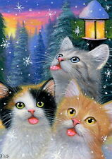 Kittens cats tasting snowflakes Christmas tree moon OE aceo print painting art