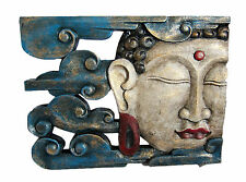 WOODEN Buddha Head Gold with blue waves Wall Plaque 50cm x 38 cm Handmade new