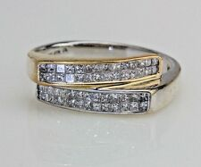 Multi-tone 14K Gold 0.50 Ct Invisible Set Diamond Bypass Ring Band