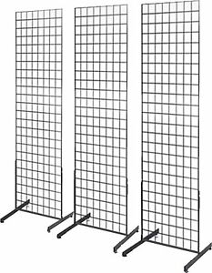Gridwall Panel Tower with T-Base Floorstanding Display Kit, 3-Pack Black 2'x6'
