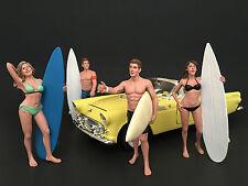 SURFERS 4PC FIGURE SET 1:18 MODEL BY AMERICAN DIORAMA 77439,77440,77441,77442