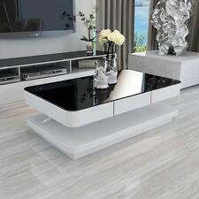 High Gloss White MDF Coffee Table+Black Tempered Glass Top Living Room Furniture