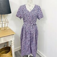 Vintage 90s Womens Maxi Dress Ditzy Floral Purple Pink Button Front Size 14 16