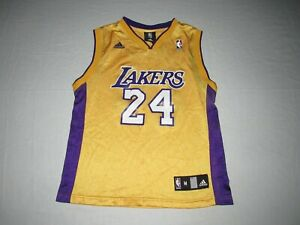 Kobe Bryant #24 Los Angeles Lakers Adidas Gold Purple Jersey Youth Size M 10-12