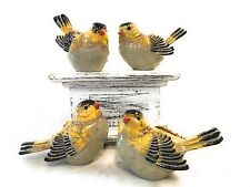 Set of small bird figurines, Goldfinch, Black and Gold, set of 4 different poses