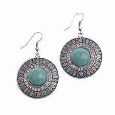 New BOHO Style Round Green Turquoise & Crystals Hook Dangle Drop Earrings