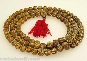 Fine Guscio Mala 108 Perle Guru Perle Stupa Braun Bianco Rosso Buddismo 104c