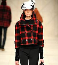 SALE $3,595 Burberry Prorsum sz 10 44 Red Black Plaid Cropped Coat Jacket Trench