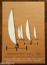 "ORIGINAL 1974 1st ANNUAL AMERICA'S LAND SAILING CUP POSTER ROACH DRY LAKE ""RARE"""