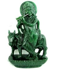 12955CT NATURAL AVENTURINE CARVED HINDU DEITY KRISHNA COW STATUE ART SCULPTURE
