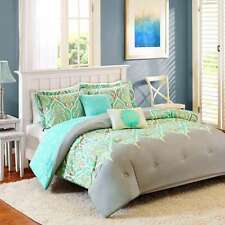 Teal-Grey-Taupe-Lime Green Comforter Set 5-pc Full/Queen Size Bedding
