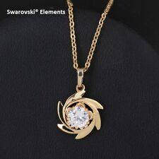 Collier chaîne doré pendentif FLEUR Swarovski®Elements + pochette top qualité