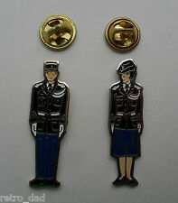 Fun Military POLICE OFFICER Vintage LOT 2 Enamel METAL PIN BADGES Pins Badge SET