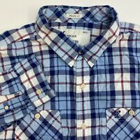 American Eagle Button Up Shirt Mens XXL Blue Plaid Long Sleeve Casual