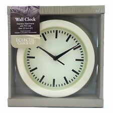"WALL CLOCK METAL CASE CREAM COLOUR 9""BY ELECTRIC CLOCK CO"