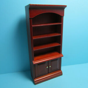 Dollhouse Miniature Wood Bookcase with Lower Cupboard Cabinet Mahogany T3611