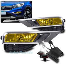 15-16 HONDA CR-V CRV BUMPER DRIVING FOG LIGHT LAMP YELLOW W/50W 6K HID KIT+BEZEL