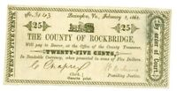 1863, 25 Cents County of Rockbridge, VIRGINIA Note - CIVIL WAR Era, Banknotes