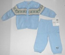 Rare Infant Baby Boy Calvin Klein 2 Pc Crochet White Blue Set Outfit Sz 9 Mths
