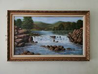 Elan Valley Wales landscape Original Oil Painting-Signed Welsh Art. Ornate Frame