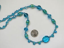 Aqua Sky Blue Faux Topaz Glass Chandelier & Seed Bead Necklace 28""