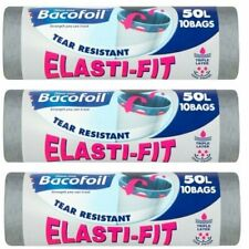 More details for 3 x bacofoil elasti-fit kitchen bin liners 10 per roll 50l (30 total)