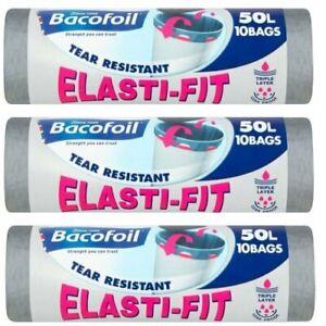 3 x Bacofoil Elasti-Fit Kitchen Bin Liners 10 Per Roll 50L (30 Total)