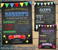 10 Ice Cream Owls Stars Boy Girl Unisex Personalised Birthday Party Invitations