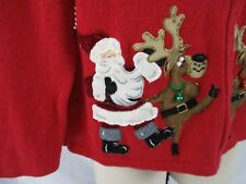 Ugly Tiara International Christmas Sweater Red Embellished Reindeer Zip AA351