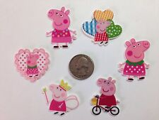 6 Pcs Mixed Lot Peppa Pig Flatback Resin Cabochon Hair Bow Center Supplies.