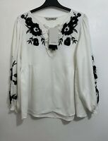 ZARA OFF WHITE BLOUSE TOP WITH BLACK CONTRAST EMBROIDERY SIZE S BNWT