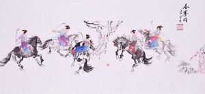 100% ORIGINAL ASIAN ART CHINESE FIGURE WATERCOLOR PAINTING-Beauty&Horse Racing