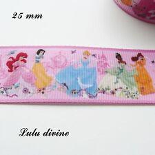 Ruban gros grain rose- Les Princesse Disney - debout  25mm au mètre