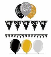 Wimpelkette + Luftballons 80. Geburtstag gold schwarz silber Geburtstagsdeko Set