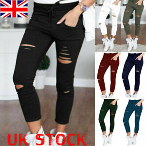 Plus Size Womens Ripped Leggings Pants Ladies High Waist Stretch Casual Trousers